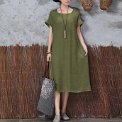 ZANZEA Women's Simple And Pure Color Long Dress - Army Green