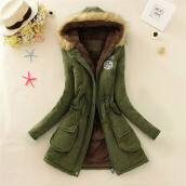 BESSKY Women Warm Long Coat Fur Collar Hooded Jacket Winter Parka Outwear-