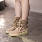 Cute Khaki Solid Flock Boots