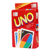 BESSKY Standard 108 UNO Playing Cards Game For Family Friend Travel Instruction Fun Toy - Red