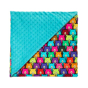 LA MILLOU Minky Calming Blanket Medium- Candy Bear Teal SL060E