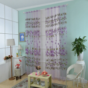 100 X 200CM Floral Printed Tulle Voile Wall Room Divider Curtain-Purple