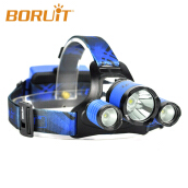 BORUIT RJ-5000 Plus B22 Rechargeable Zoom XM-L2+2*XPE BLUE LED Hunting Headlamp Micro USB Headlight Torch