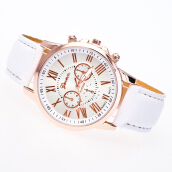 Women Girl Roman Numerals Faux Leather Analog Quartz Wrist Watch Stylish