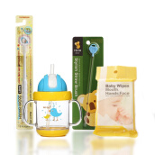 Paket Bundle 4 (Hito Tritan Blue Yellow + Straw Brush Hito Blue + 360Do Baby Toothbrush + Tissue Basah US BABY Food Grade with Xylitol isi 8)
