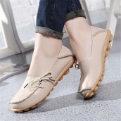 BESSKY New Women Leather Shoes Loafers Soft Leisure Flats Female Casual Shoes_