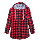 Hemiks Plaid Side Zipper Scotland Long-sleeved Casual Shirt Hiphop Black And White, Blue And Red Hoodies Sweatshirts For Men And Women