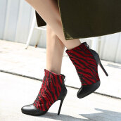 Lovely Dark Red Patchwork PU Boots