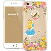 ESR Clear Soft Gel TPU Cover Shell Skin with Cute Cartoon Pattern for Apple 4.7 iPhone 6 Plus/6s Plus(Petals goddess)