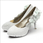 Glitter Vogue Lace Flowers Crystal High Heels Wedding Bridal Dancing Party Shoes