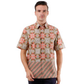 DANAR HADI Mens Short Sleeve Batik SNRG6 - Orange/Green