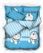 PANTONE Premium Cotton Doraaemon Stripe Bed Cover Set Single / 100x200cm