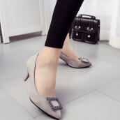 Lovely Light Grey Solid Flock Pumps