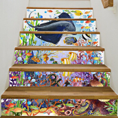 3D Underwater World Stair Stickers 7.1 x 39.4 inch 6pcs Multicolor