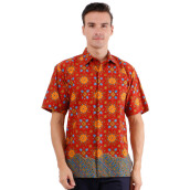 DANAR HADI Mens Short Sleeve Batik CBRL4 - Brown