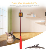 Luxury Feather Wand Teaser Interactive Cat Toy