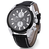 MEGIR M2020 Male Quartz Watch with Date Display Water Resistance Leather Band Wristwatch