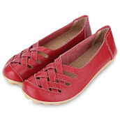 Summer Casual Women Hollow Genuine Leather Soft Soled Flat Shoes
