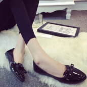 Sexy Black Solid PU Loafers