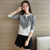 Women's Cute Grey O-Neck Patchwork Sweater