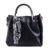 HUER Laras  Tote Bag With Scarf - Black [One Size]