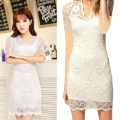 Lady Women's Sexy V-neck Short Sleeve Lace Stretch Casual Party Mini Dress
