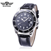 Winner W042602 Men Auto Mechanical Watch Date Display Rotatale Bezel Luminous Pointer Wristwatch