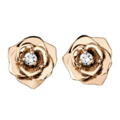 TIARIA Perhiasan Anting Emas Berlian 18K - [Rose Earring ]