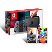 NINTENDO Switch With Grey Joy-Con + Free Game The Legend of Zelda: Breath of the Wild & Game 1-2 Switch