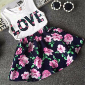 BESSKY Girls Love Letters Printed Sleeveless Vest Floral Skirt Set Clothes_