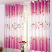 BESSKY Butterfly Calico Finished Product Cloth Window Screens Curtain_ Pink