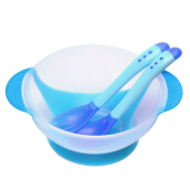 3pcs Babies Skidproof Bowl with Suction Cup Assist Temperature Sensing Spoon(Blue)