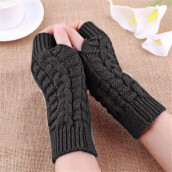 BESSKY Fashion Knitted Arm Fingerless Winter Gloves Unisex Soft Warm Mitten-