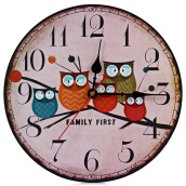 Silent Round Wall Clocks Decorative Owl Wooden Clock