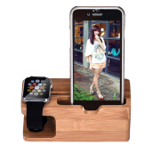 Bamboo Wood Charging Station Charger Dock Stand Holder For Apple Watch Phone