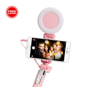 VIVAN STL01 Lollipop Design Wired Selfie Stick + Light & Mirror - Pink - Garansi Resmi 1 Tahun