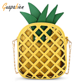 Guapabien Hollow Out Pineapple Shaped Chain Crossbody Bag