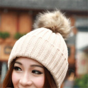 BESKSY Women Winter Fur Ball Warm Hat Crochet Knitted Wool Cap _