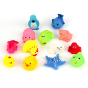 [Kingstore]13pcs Different Squeaky Floating Animals Ocean Rubber Baby Bath Bathing Toys