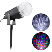Excelvan Kaleidoscope Projector Rotating LED Light 2 Colors Switchable Waterproof Outdoor Yard Stake