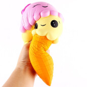 BESSKY Exquisite Fun Ice Cream Scented Squishy Charm Slow Rising Simulation Kid Toy- Yellow