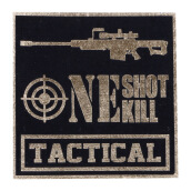 Tactical Series Velcro Patch 9 x 9 cm - Tactical One Shot One Kill - Black Gold