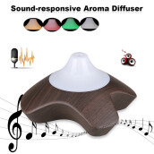 Excelvan Sound Responsive Essential Oil Aroma Diffuser Ultrasonic Humidifier Air Mist Aromatherapy Purifier Dark Woodgrain GX-08K