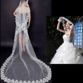 [Kingstore]3 Meters Long Lace Edge Cathedral Wedding Gown Bridal White Tulle Veil