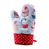 ARNOLD CARDEN Oven Mitts Cup Cake Right Side -  Red 17x25cm
