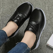 Lovely Black Solid PU Loafers
