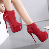 Sexy Red Solid PU Boots