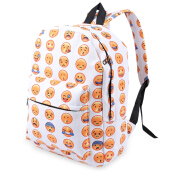 Cute Smile Face Print Canvas Girl School Travel Shopping Portable Bag Backpack