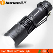 Lomon Mini Handy LED Flashlight Pocket Clip Zoom LED Camping Light Zoomable Flashlight Super Bright 14500 Rechargeable Battery Torch