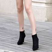 Simple Black Solid Flock Boots